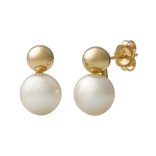 14k Gold Freshwater Cultured Pearl Drop Earrings