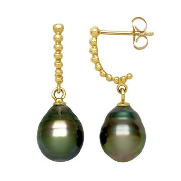 14k Gold Tahitian Cultured Pearl Drop Earrings