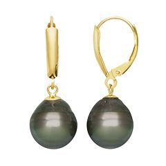 14k Gold Tahitian Cultured Pearl Drop Earrings