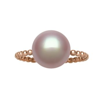 14k Rose Gold Freshwater Cultured Pearl Ring