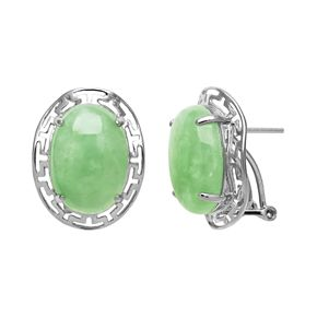 Sterling Silver Jade Greek Key Drop Earrings