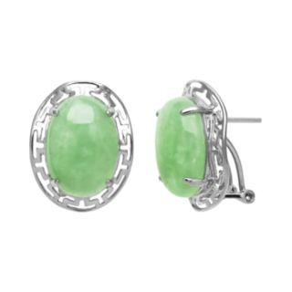 Sterling Silver Jade Greek Key Drop Earrings