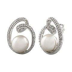 Sterling Silver Freshwater Cultured Pearl & Diamond Accent Swirl Drop Earrings