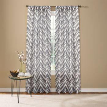Custom Home 1-Panel Painted Chevron Window Curtain