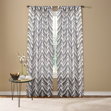 Custom Home Painted Chevron Window Curtain