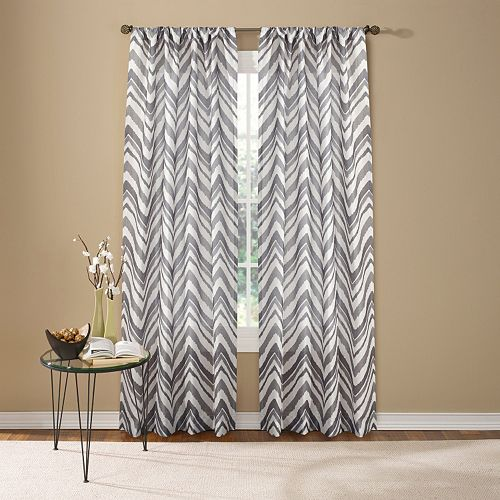 Custom Home 1-Panel Painted Chevron Window Curtain
