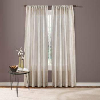Custom Home 1-Panel Textured Stripe Window Curtain