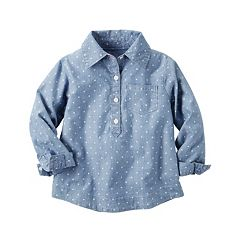 Girls 4-8 Carter's Polka-Dot Chambray Woven Shirt