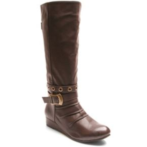 Kisses by 2 Lips Too Too Spunky Women's Knee-High Wedge Boots