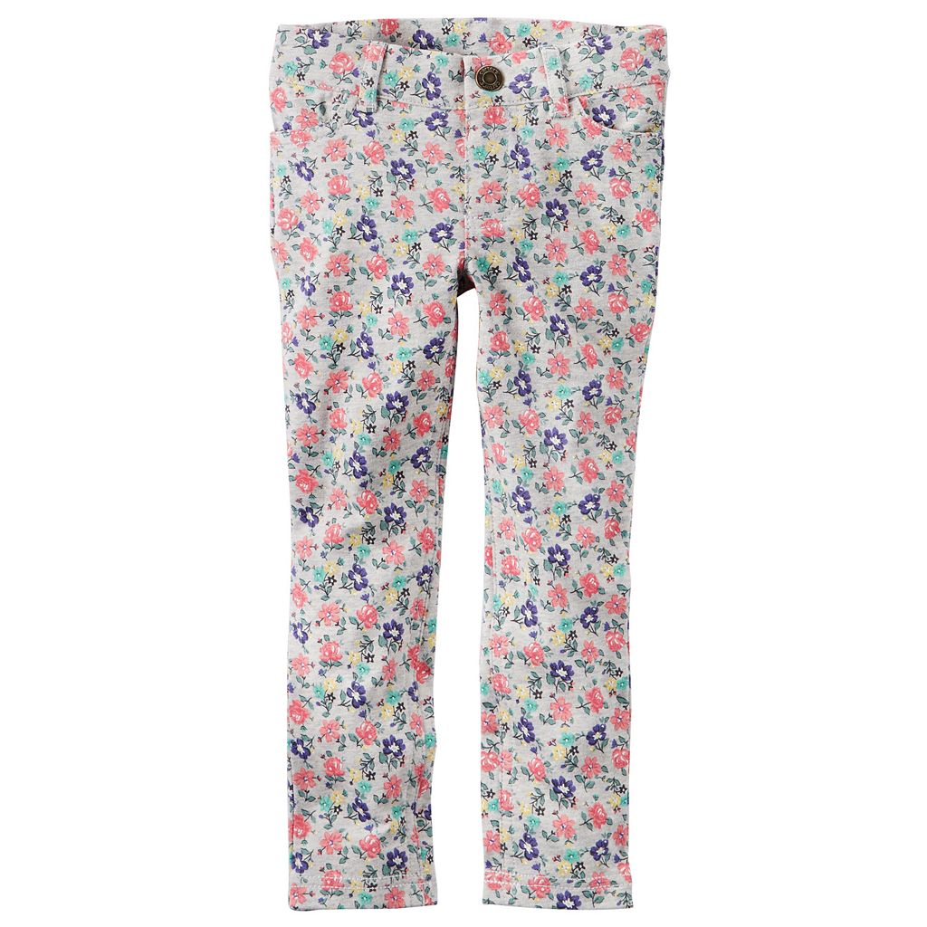 Girls 4-8 Carter's Floral French Terry Jeggings