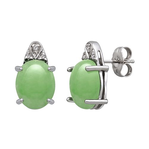 Sterling Silver Jade & Diamond Accent Stud Earrings