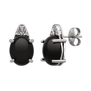 Sterling Silver Onyx & Diamond Accent Stud Earrings