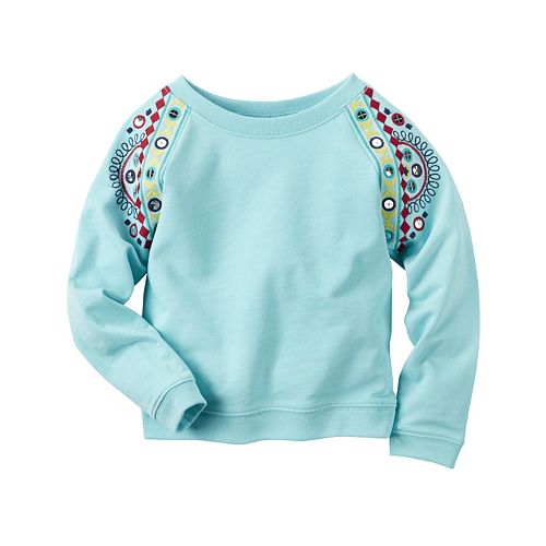 Girls 4-8 Carter's Embroidered Arm French Terry Pullover