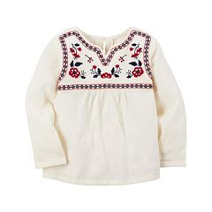 Girls 4-8 Carter's Embroidered Red Flower Babydoll Top