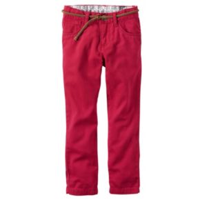 Girls 4-8 Carter's Red Twill Pants with Braided Belt