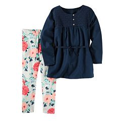 Girls 4-8 Carter's Embroidered Tunic & Floral Leggings Set