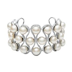 Sterling Silver Freshwater Cultured Pearl Openwork Cuff Bracelet