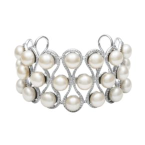 Sterling Silver Freshwater Cultured Pearl Openwork Cuff Bracelet