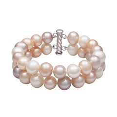 Sterling Silver Freshwater Cultured Pearl Double Strand Bracelet