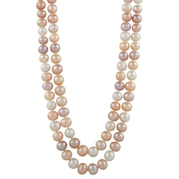 Sterling Silver Freshwater Cultured Pearl Double Strand Necklace
