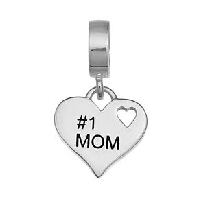 "Individuality Beads Sterling Silver ""#1 Mom"" Heart Charm"