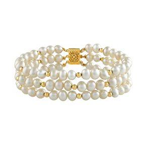 14k Gold Freshwater Cultured Pearl Multi Row Bracelet