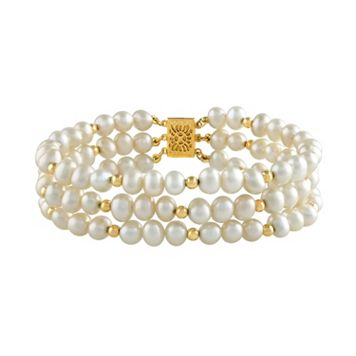 14k Gold Freshwater Cultured Pearl Multi Row Bracelet