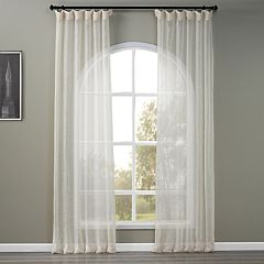EFF 1-Panel Solid Open-Weave Sheer Window Curtain
