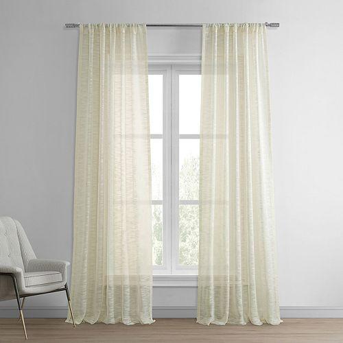 EFF 1-Panel Solid Open-Weave Sheer Window Curtain