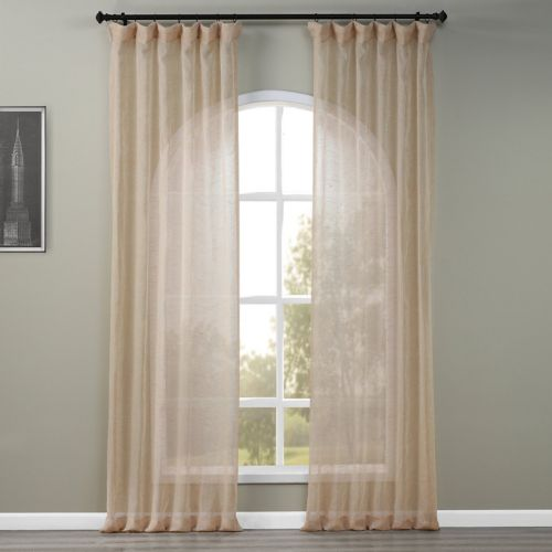solid open-weave sheer curtain