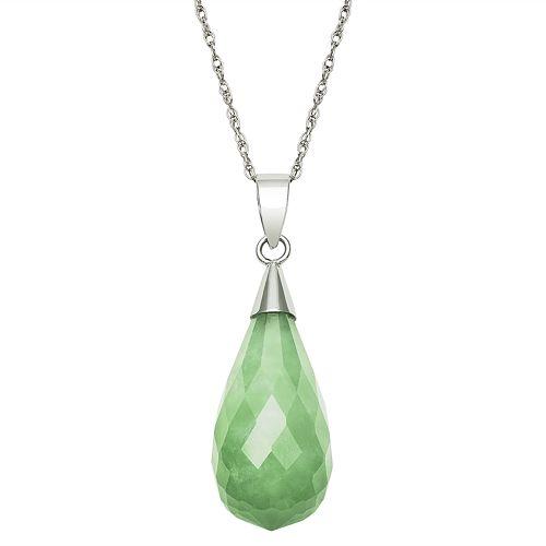 Sterling Silver Jade Briolette Pendant Necklace