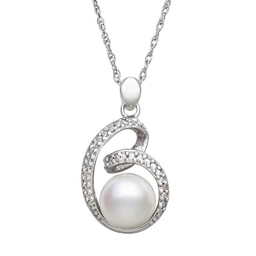 Sterling Silver Freshwater Cultured Pearl & Diamond Accent Swirl Pendant