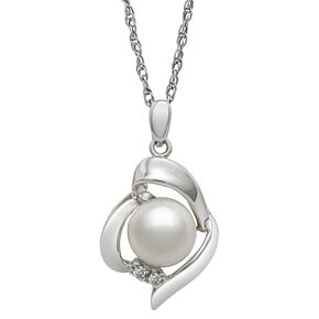 Sterling Silver Freshwater Cultured Pearl & Diamond Accent Heart Pendant
