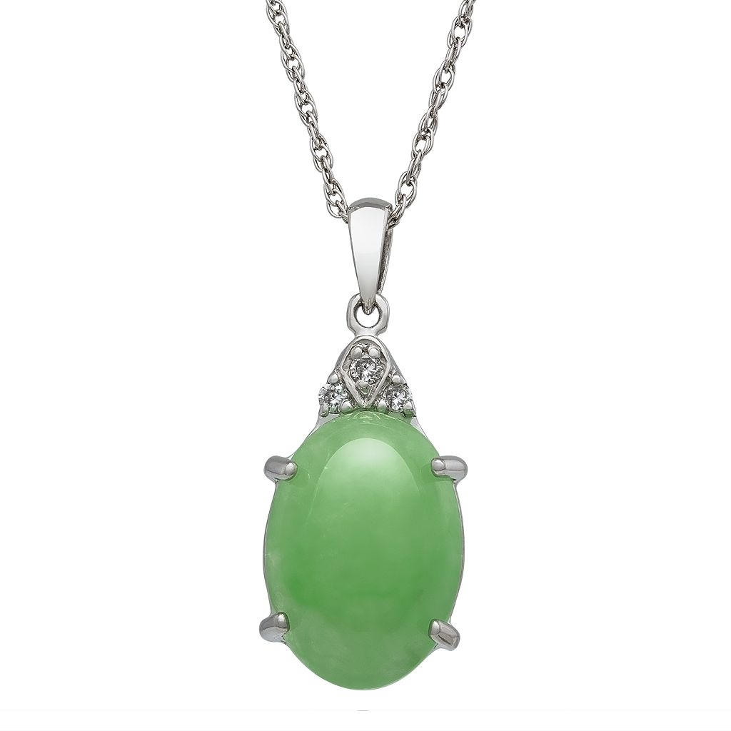 Sterling Silver Jade & Diamond Accent Oval Pendant