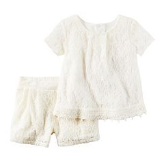 Girls 4-8 Carter's Lace Top & Shorts Set