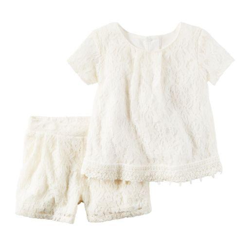 Girls 4-8 Carter's Lace Top & Shorts Set