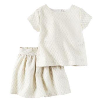 Girls 4-8 Carter's Jacquard Top & Skirt Set