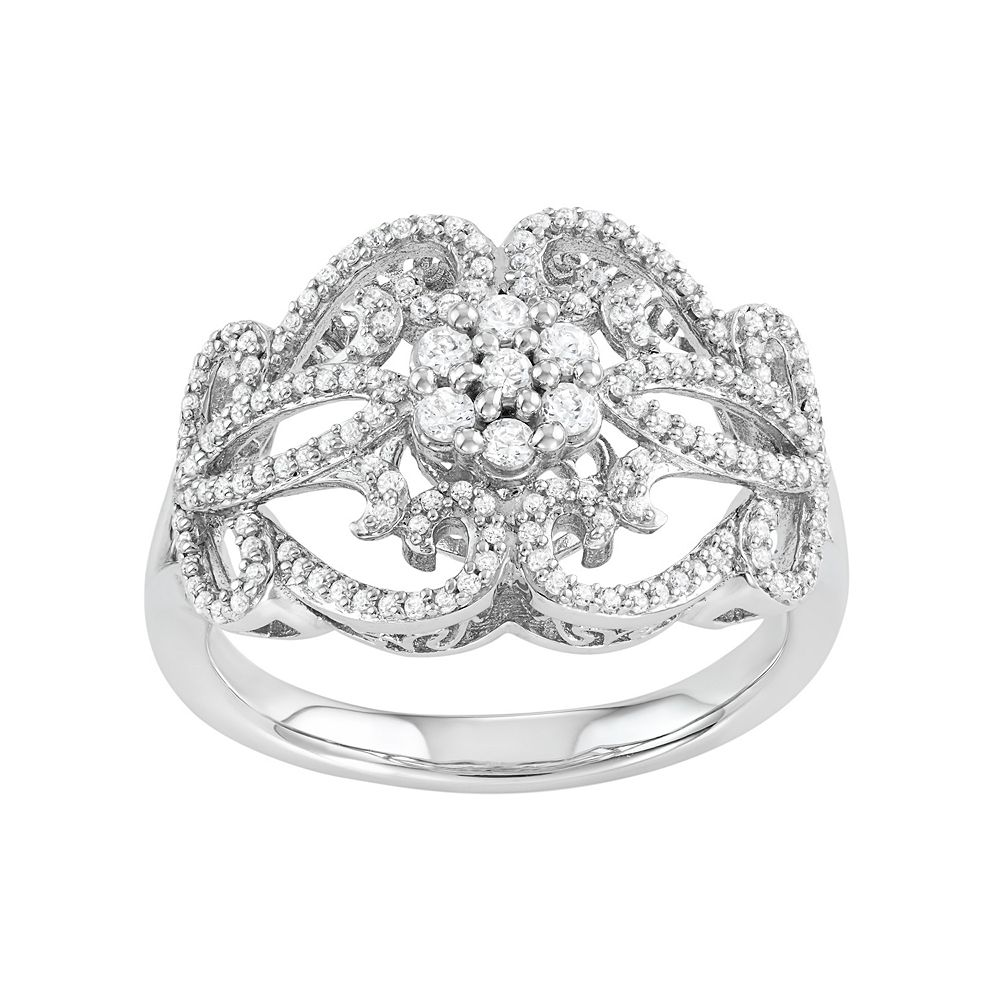 5db68711f4a49 Simply Vera Vera Wang Sterling Silver 1/2 Carat T.W. Diamond Flower Ring