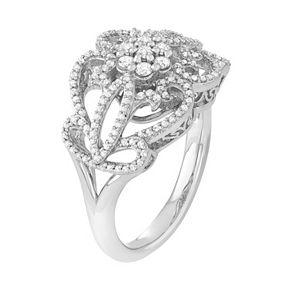 Simply Vera Vera Wang Sterling Silver 1/2 Carat T.W. Diamond Flower Ring
