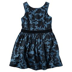 Girls 4-8 Carter's Navy & Velvet Dress