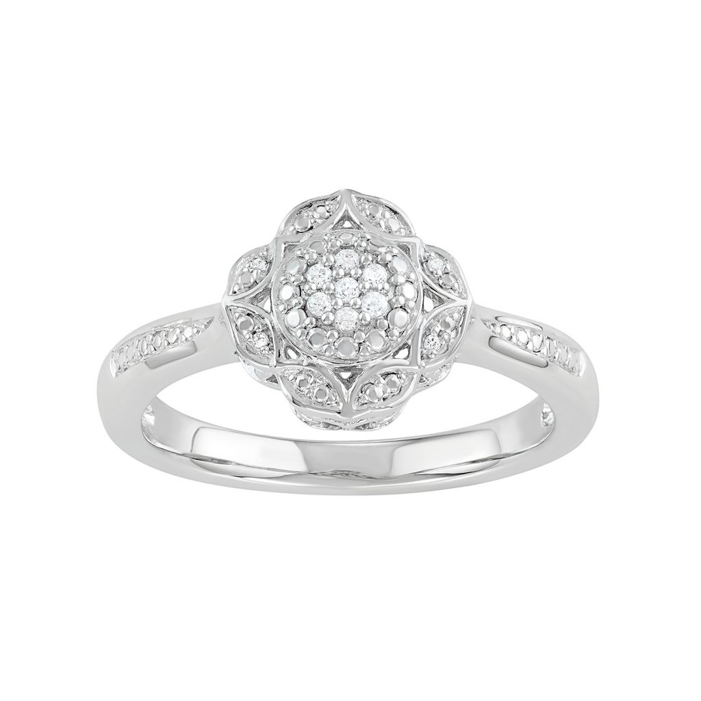 Simply Vera Vera Wang Sterling Silver Diamond Accent Flower Ring