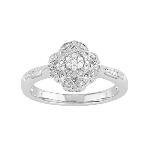 ee8b28f30c86f Simply Vera Vera Wang Sterling Silver Diamond Accent Flower Ring