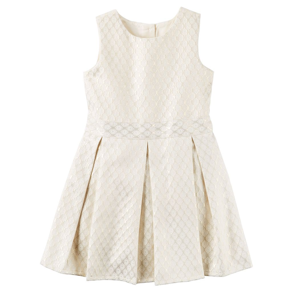 Girls 4-8 Carter's Jacquard Pleated Dress