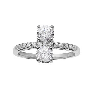 INTERTWINED Sterling Silver Cubic Zirconia Vertical 2-Stone Ring