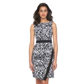 Petite Suite 7 Ikat Faux-Wrap Dress
