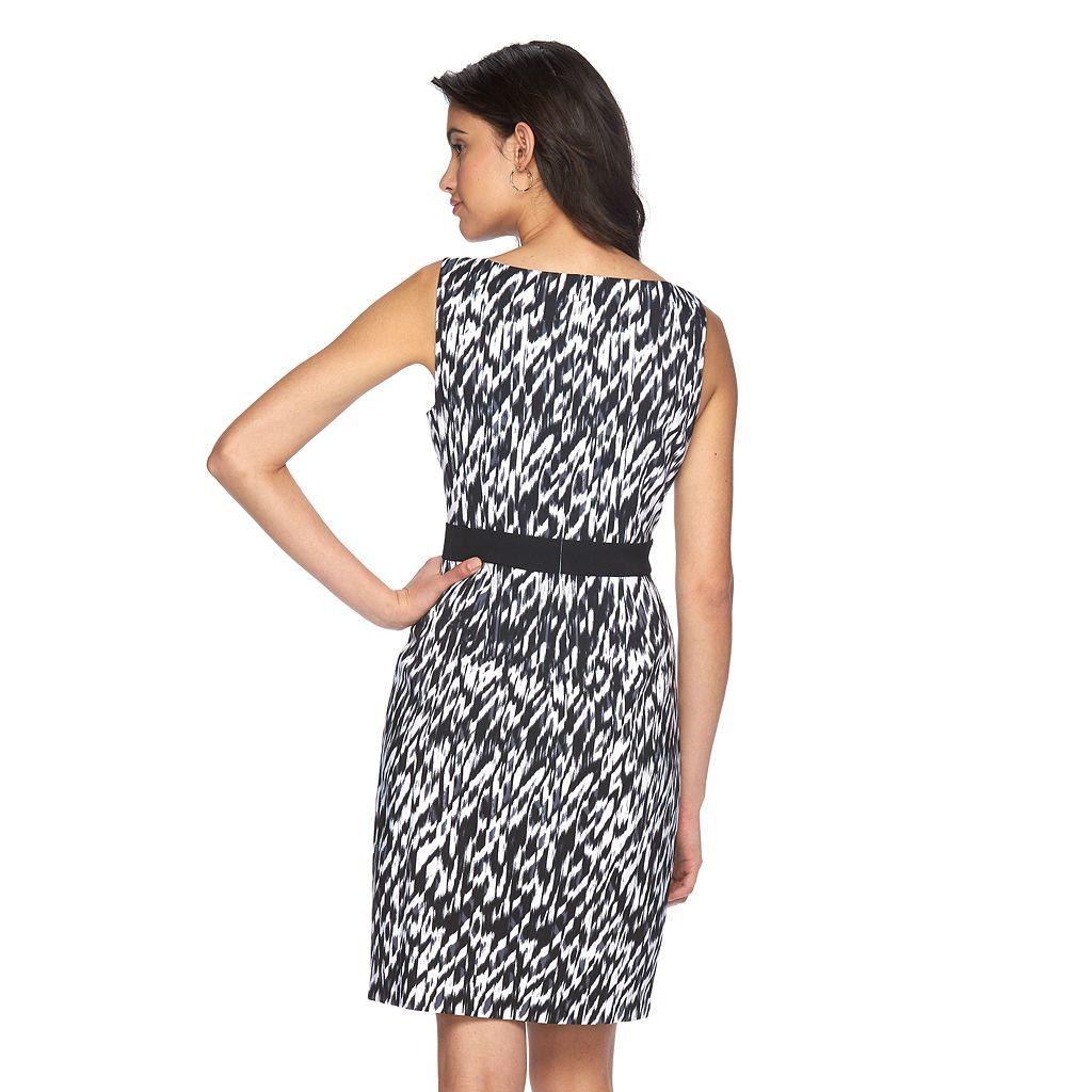 Petite Suite 7 Ikat Faux-Wrap Dress
