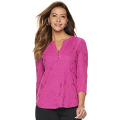 74595063797 Women s Dana Buchman Knit Henley Top