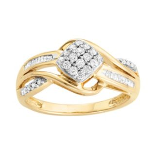 10k Gold 1/3 Carat T.W. Diamond Square Cluster Ring