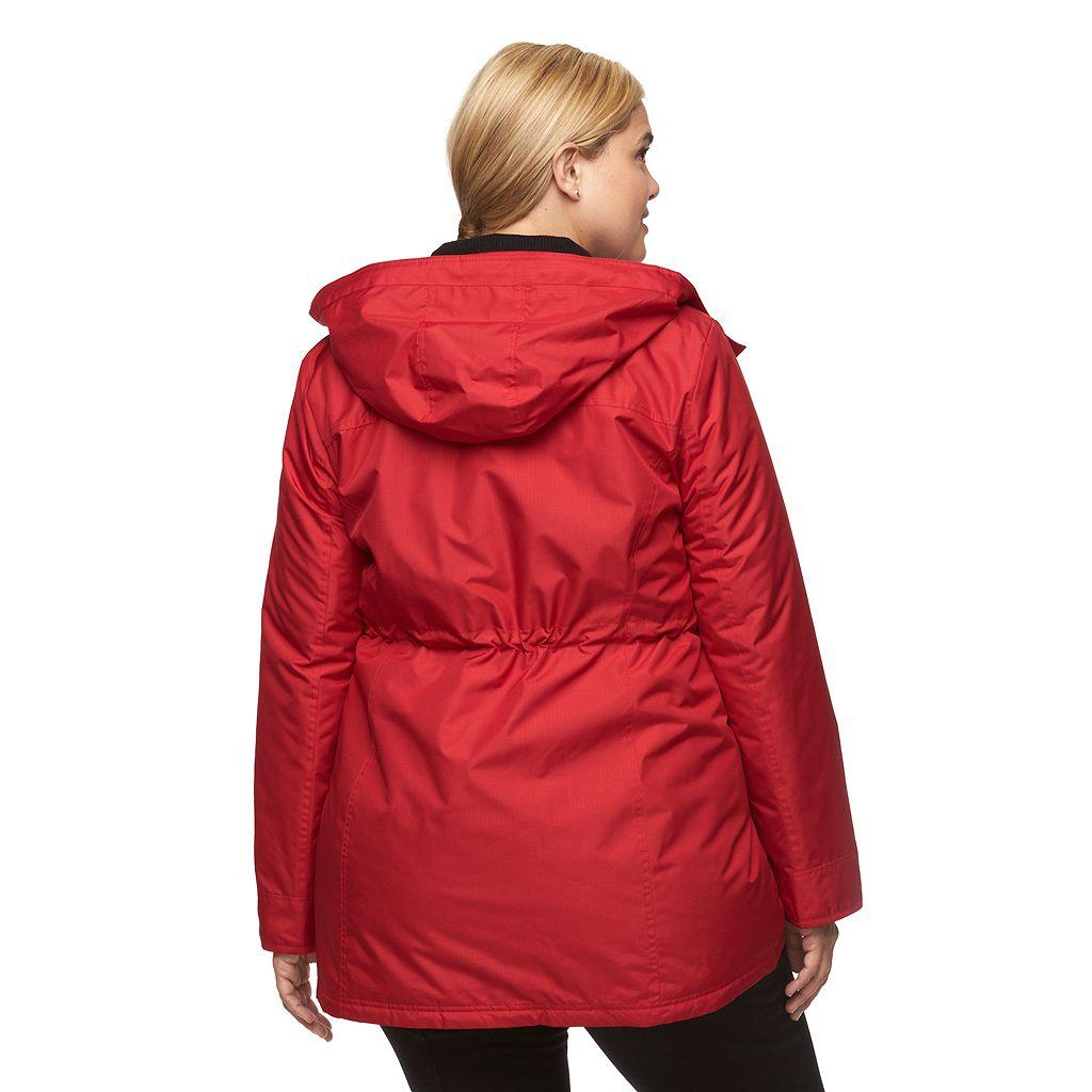 Plus Size Croft & Barrow® Hooded Anorak Rain Jacket