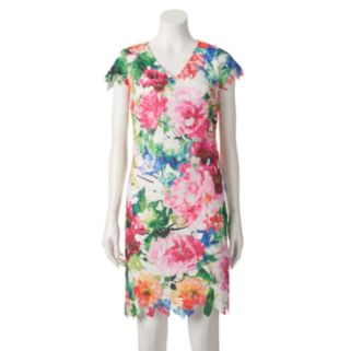 Women's DR by Donna Ricco Floral Lace Sheath Dress